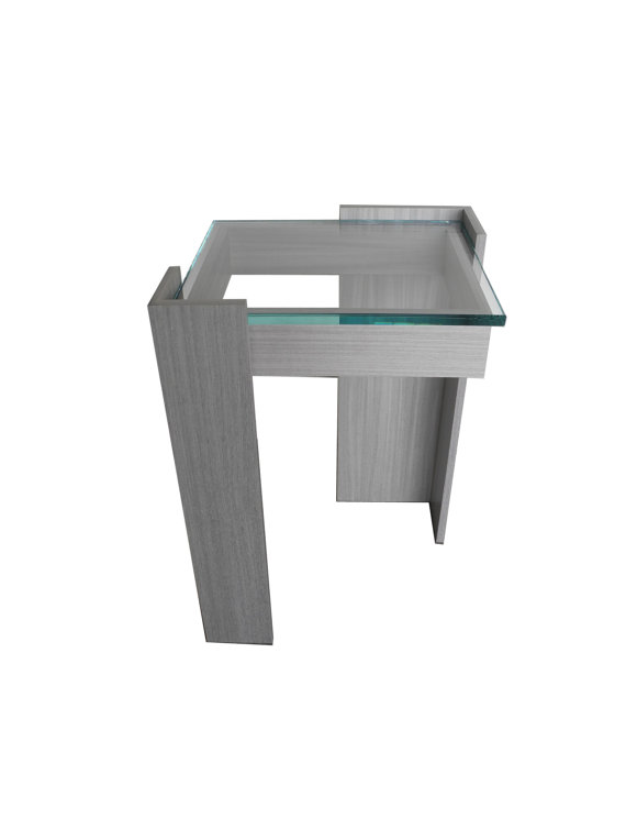 koto wood end table tall with glass top