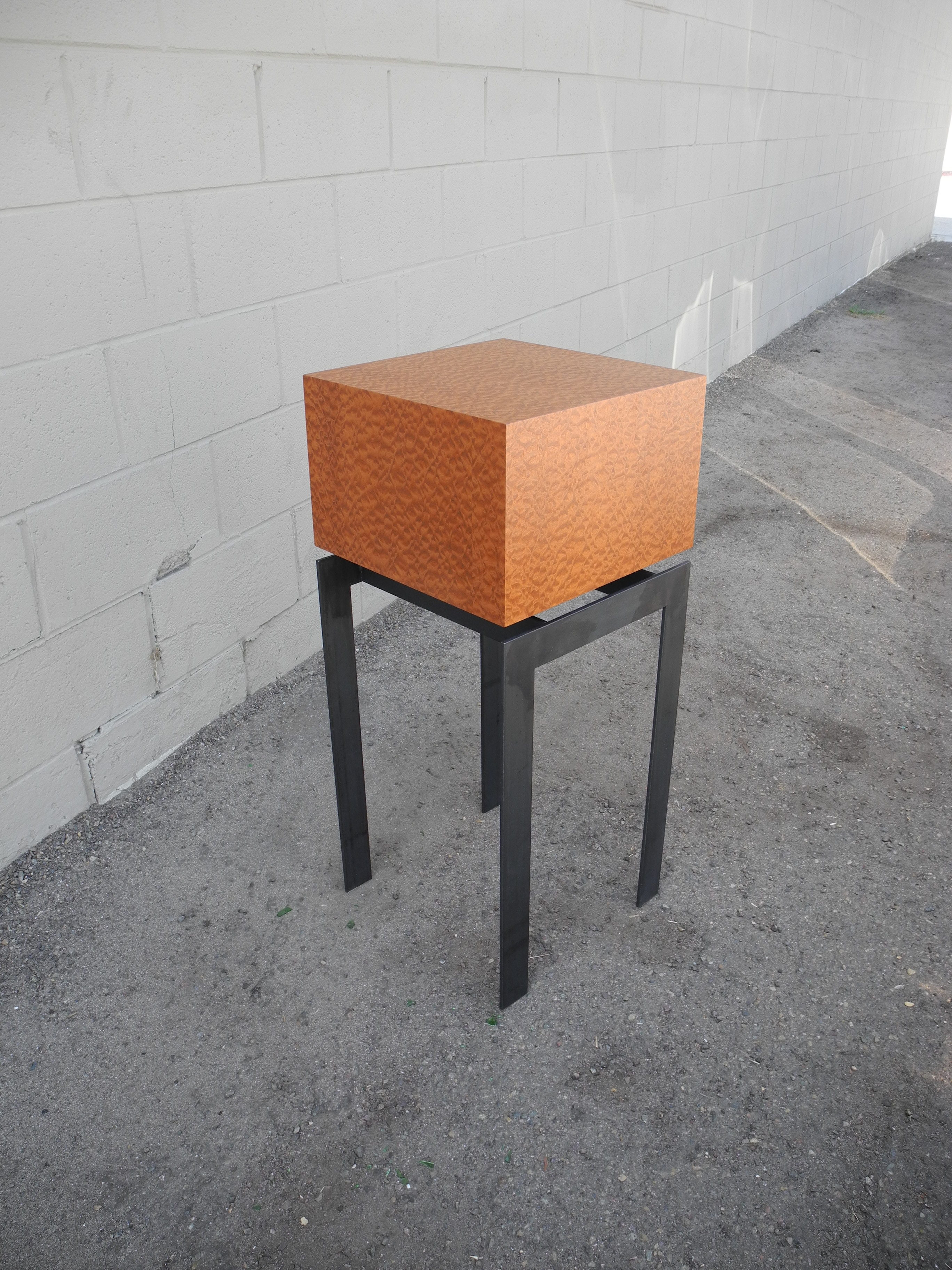 display pedestal end table square pommele sapele wood
