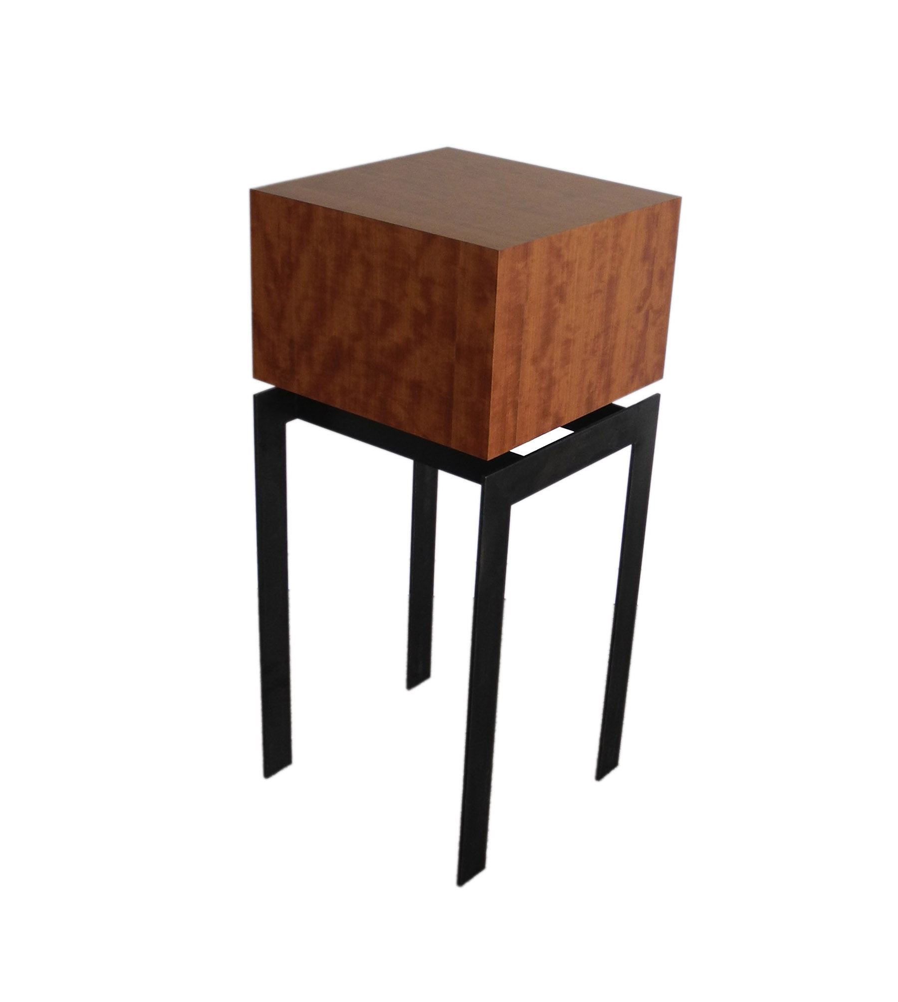 display pedestal end table square makore wood