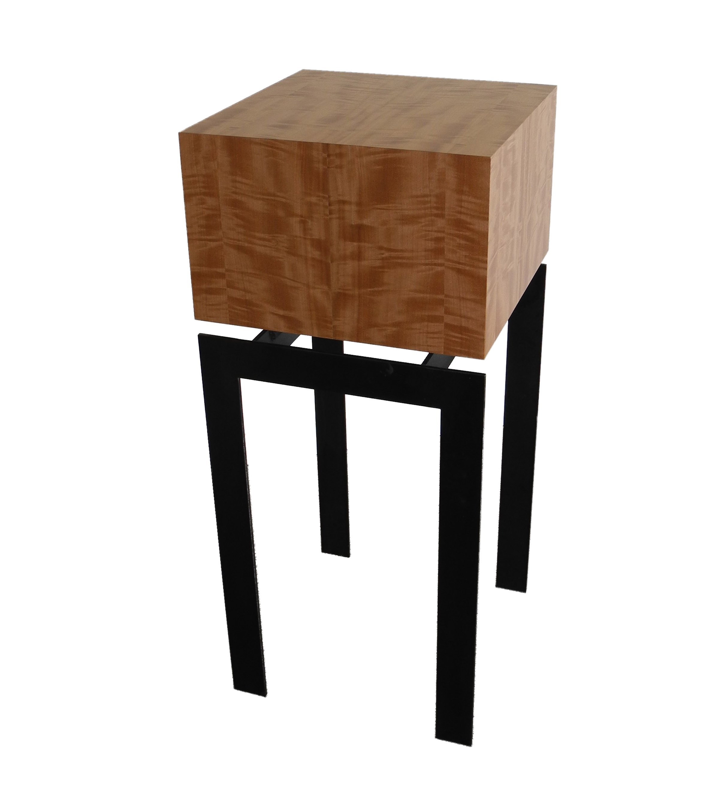 display pedestal end table square anigre wood