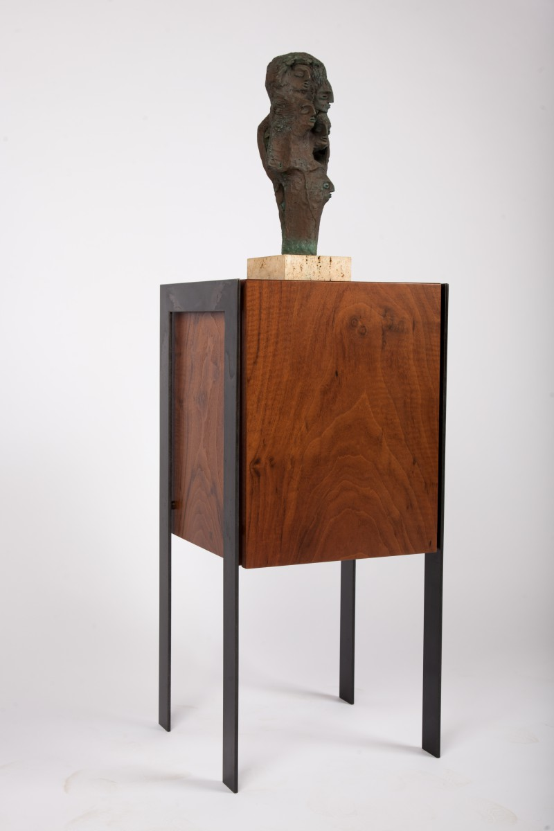 Drum display pedestal end table sculpture display