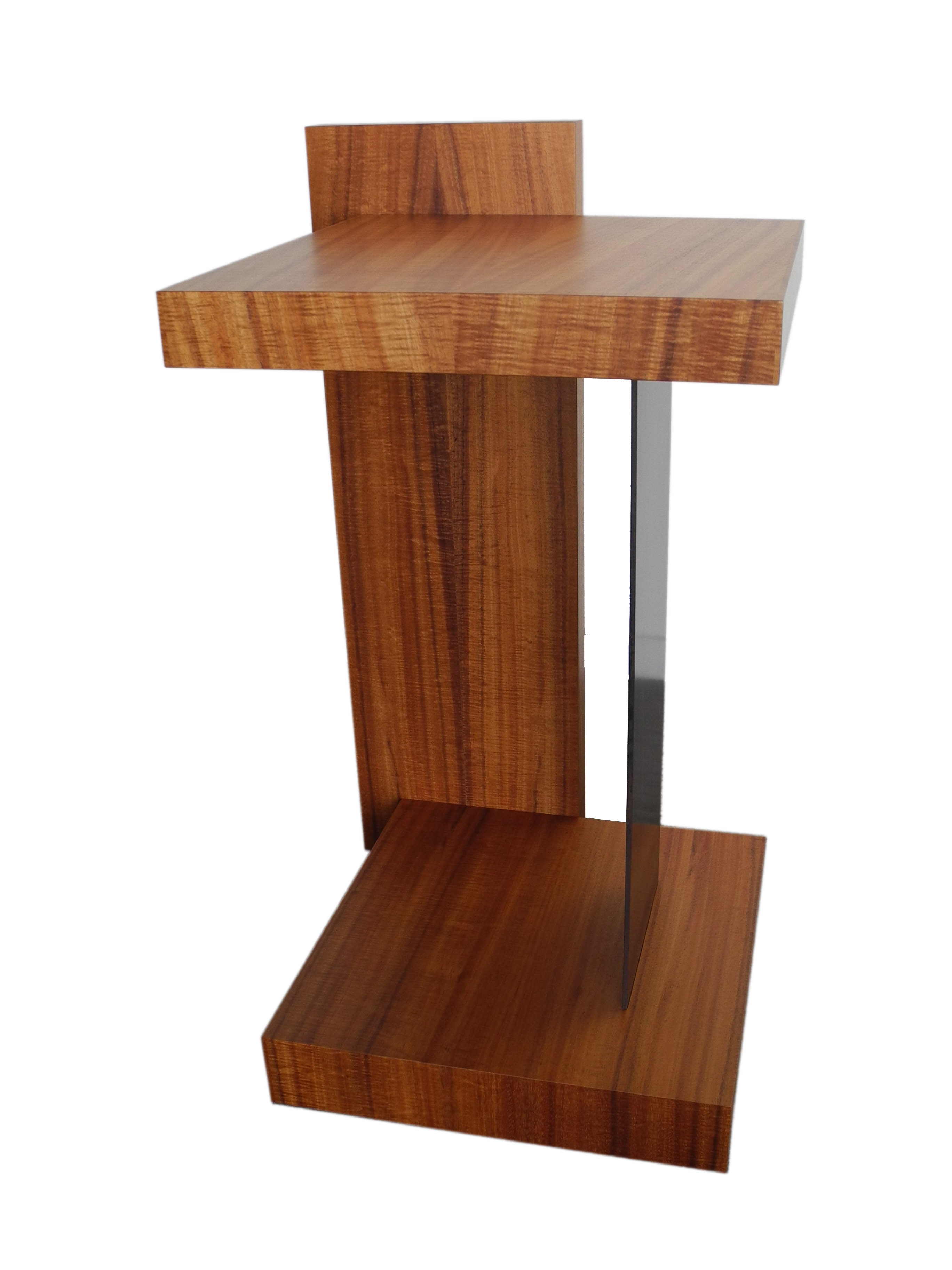 Floating display pedestal end table koa wood